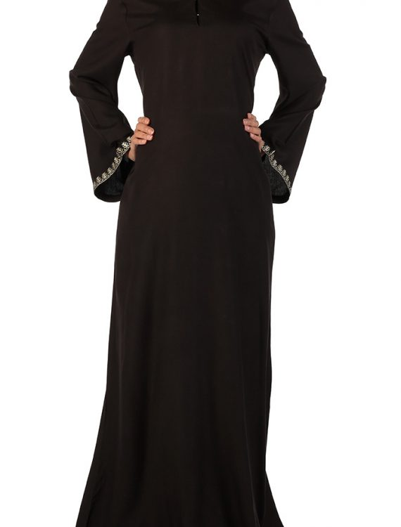 Black Rayon Abaya With Hidden Loops On Chest
