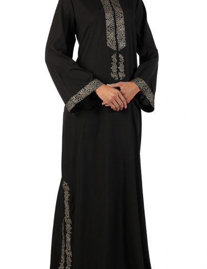 Amara Black Crepe Abaya With Bell Shaped Sleeves Black