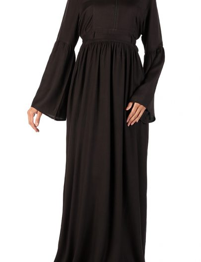 Bazla High Waist Rayon Abaya Black