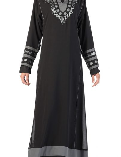 Double Layer Georgette Abaya Black