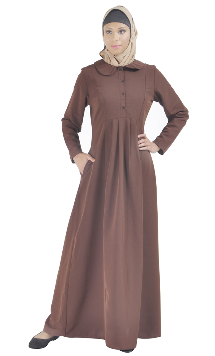 abc94de8fd530 Front Open Traditional Abaya Brown