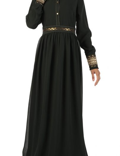 Green Georgette Abaya Green