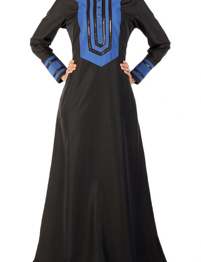 Black A Line Embroidered Abaya