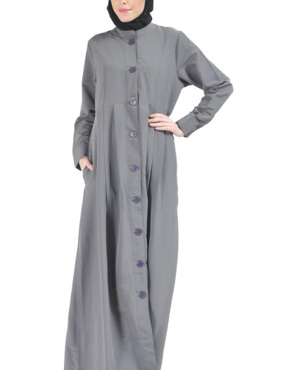 Black Button Down Abaya Dark Grey