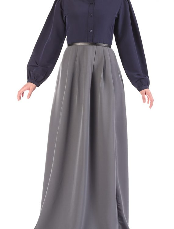 Belted Two Tone Abaya Dark Grey