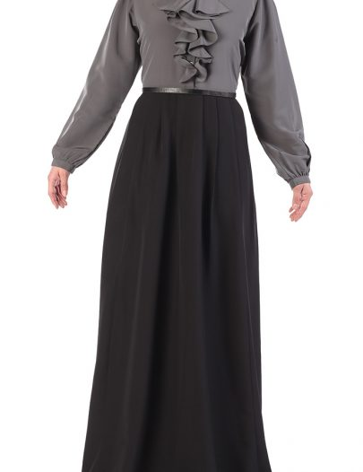 Designer Button Down Ruffled Abaya Black