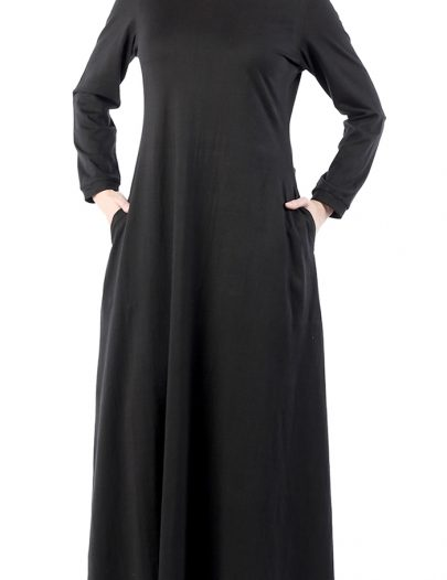 Comfortable Black T- Shirt Abaya Dress Black