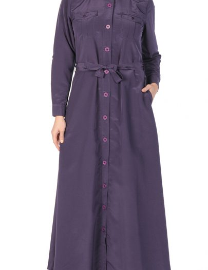Button Down Kashibo Abaya Violet