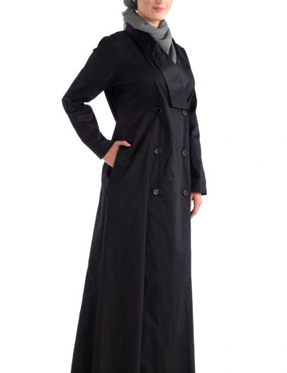 Black Front Open Jilbab With A Trench Coat Collar