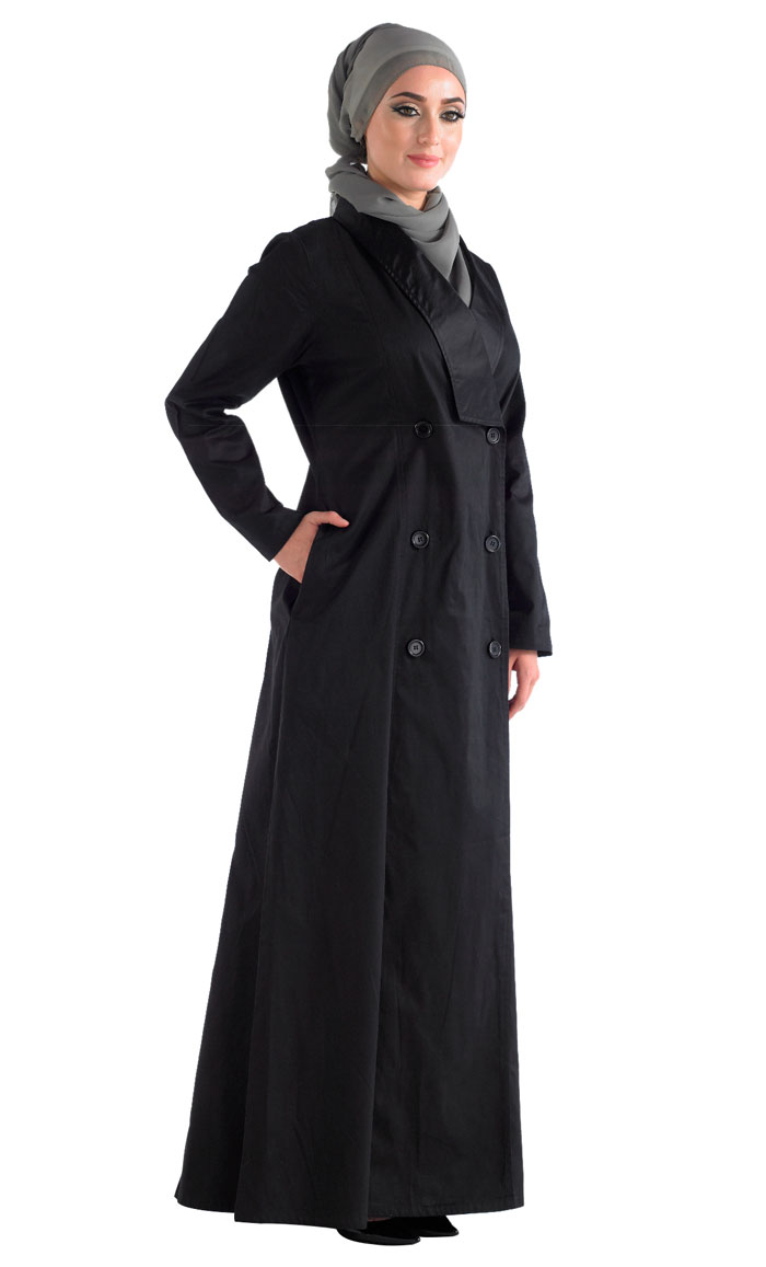 905461a9570d4 Black Front Open Jilbab With A Trench Coat Collar