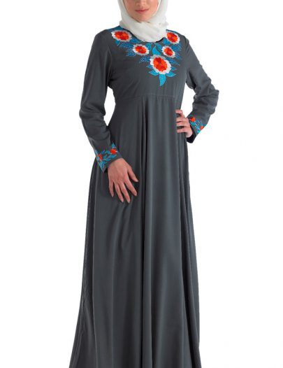 Fancy Crepe Abaya Grey