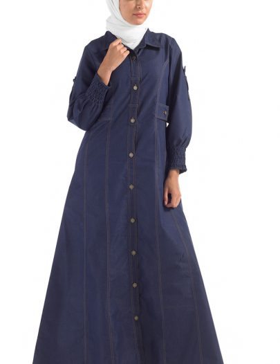 Button Down Denim Abaya Black