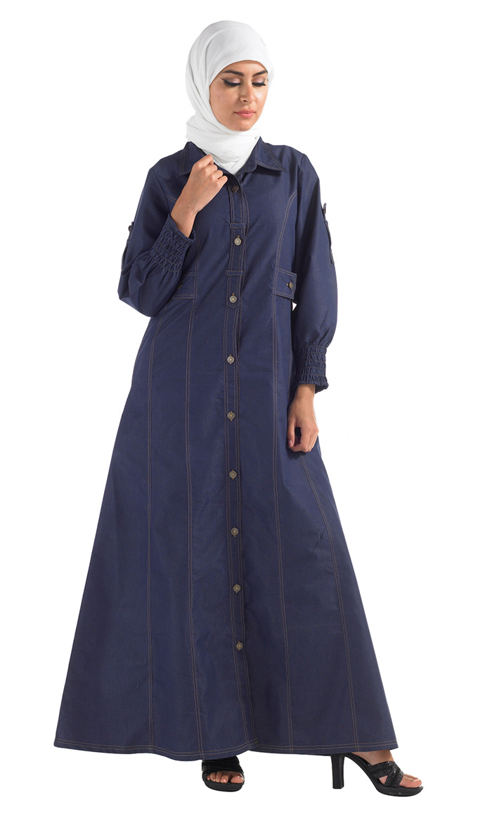button denim abaya black shop at discount price