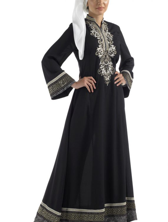 Black Royal Aztec Print Abaya