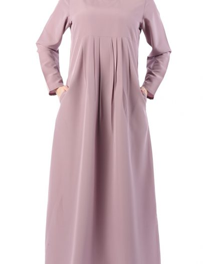 Pleated Plain Everyday Abaya Sea Fog