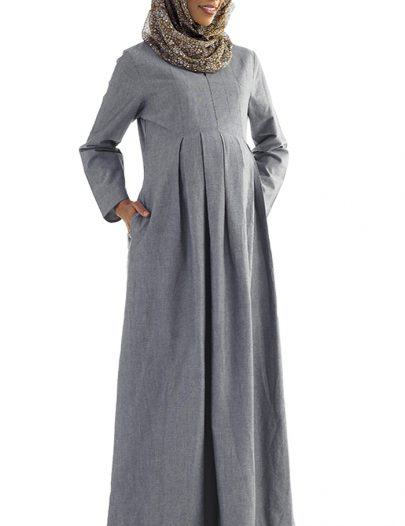 Hafiza Chambray Pleated Maternity Abaya Blue