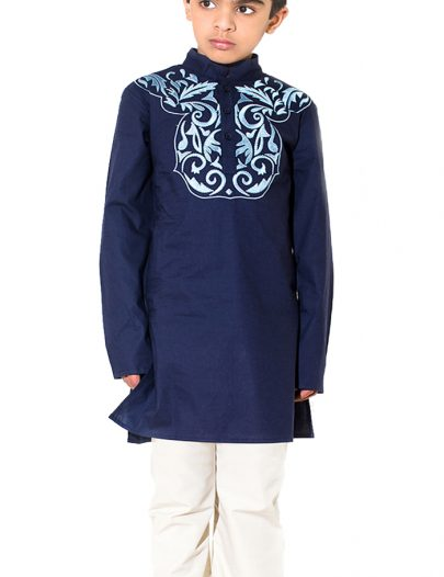 Aarib Embroidered Boy's Kurta Set Black