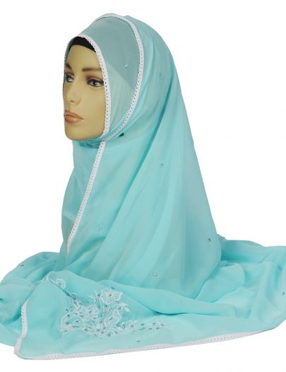 Sky Blue Beaded Andembroidered Hijab