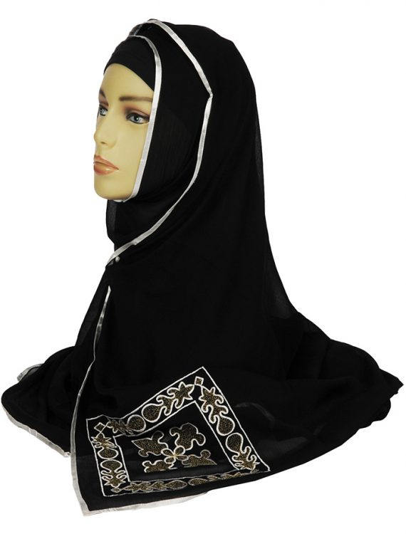 Black Chiffon Hijab With Gold Hand Embroidery
