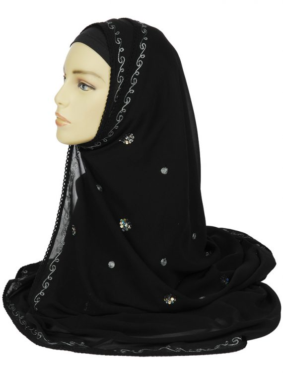 Black Hand Embroidered Georgette Hijab