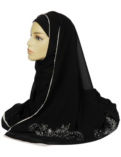 Black Hijab With Silver Sequins Work