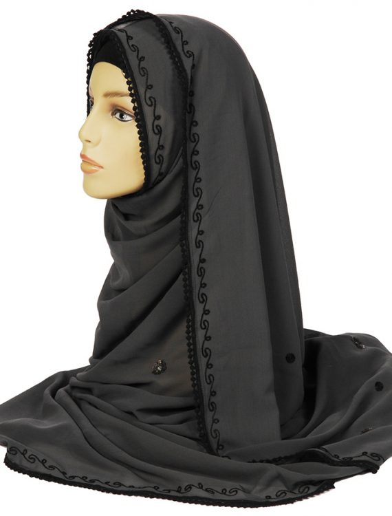 Grey Georgette Hijab With Black Stitching
