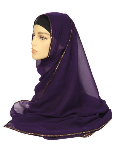 Purple Georgette Hijab With A Gold Lace Trim