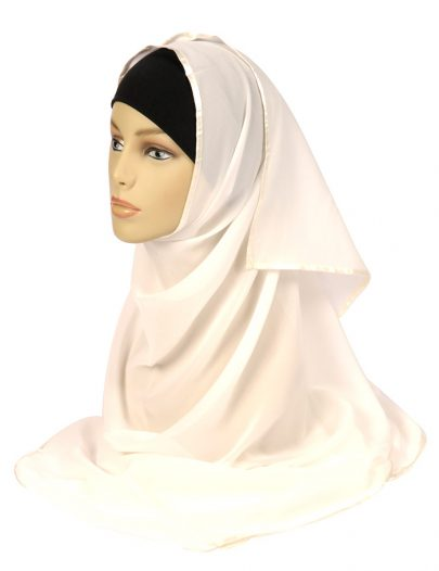 White Georgette Scarf With A White Satin Trim