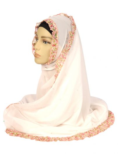White Georgette Hijab With A Ruffled Floral Trim