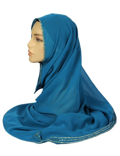 Turquoise Georgette Hijab With Sequins