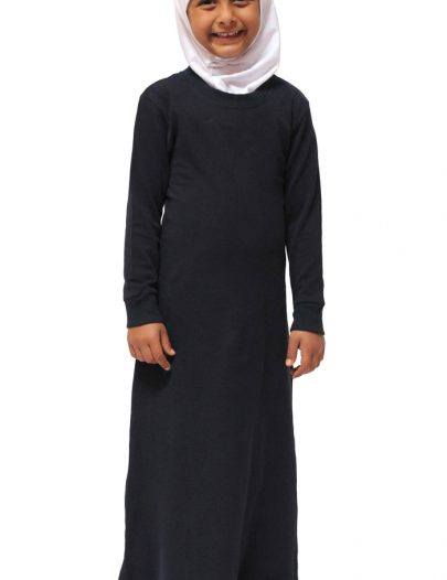 Girls Cotton Polo Abaya Black