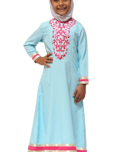 Embroidered Girls Abaya Dress Navy