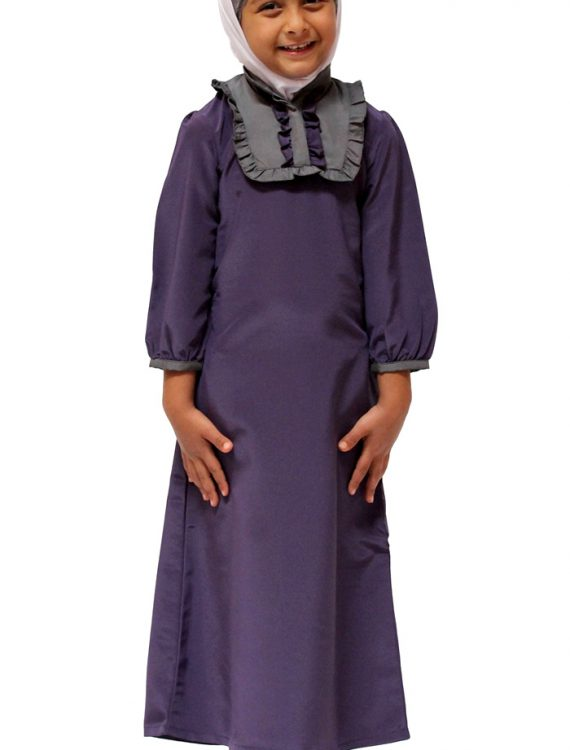 Young Girls Trendy Ruffle Abaya Violet