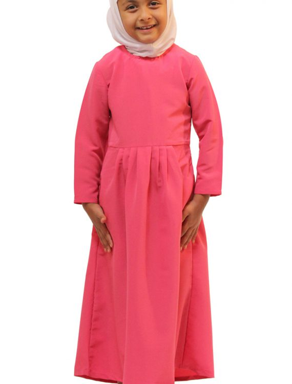 Girls Pleated Abaya Dark Pink