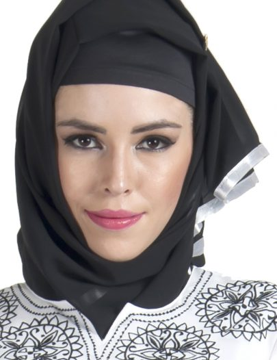 Black Georgette Hijab With White Satin Lace