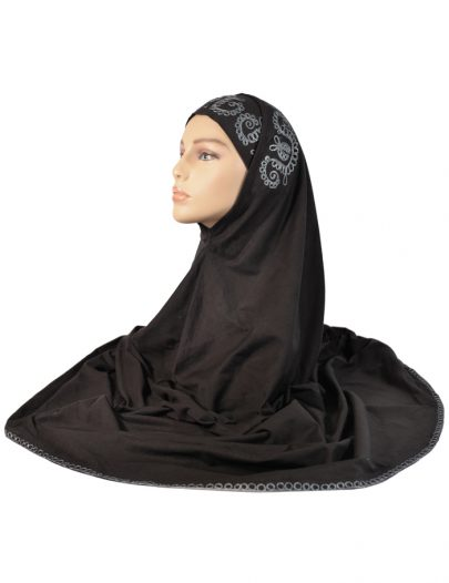 Black Al-Amirah With Grey Embroidery