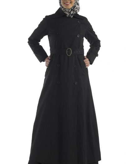 Black Cotton Twill Jacket Belted Double Button