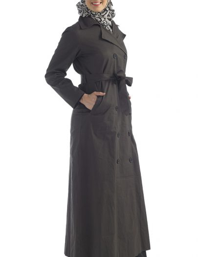 Black Cotton Twill Jacket Belted