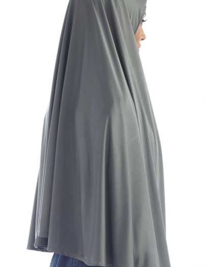 Poly Knit Short Khimar With Stretch Black