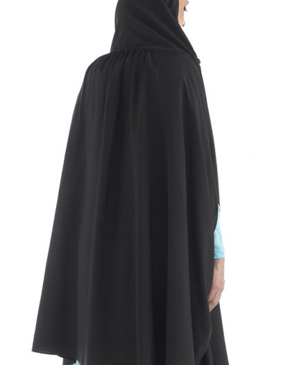 Hooded Black Poly Crepe Arms Cut Out Black