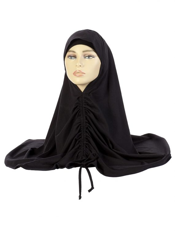 Black Cotton Drawstring Hijab