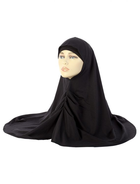 Black Cotton Hijab Bunched Up In Front