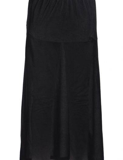 Black Polyester Long Slip Skirt Undergrment