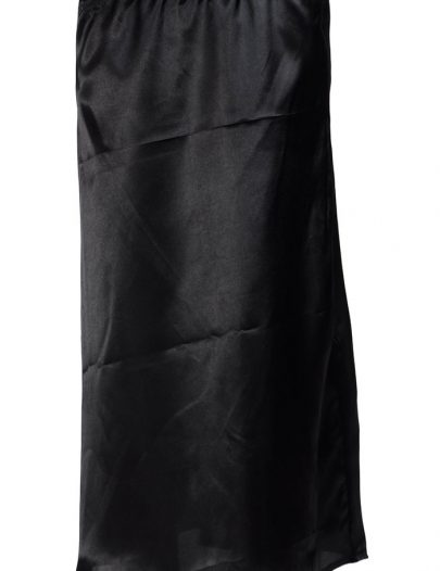 Black Satin Long Slip Skirt Under Dress