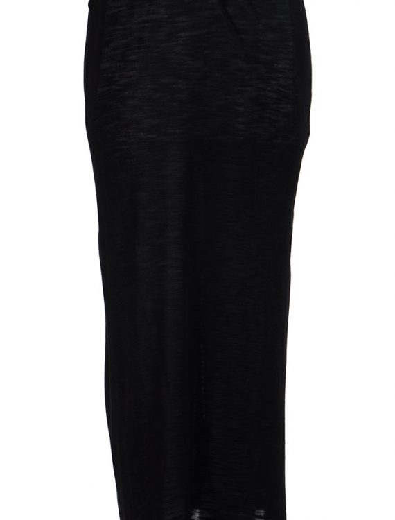 Black Viscose Knit Long Slip Skirt Under Dress