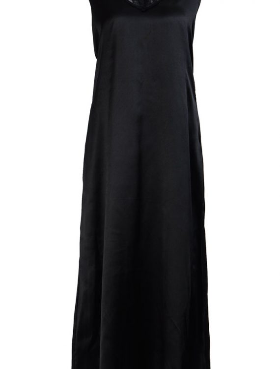 Sleeveless Full Length Black Satin Lace Under Dress Slip Black