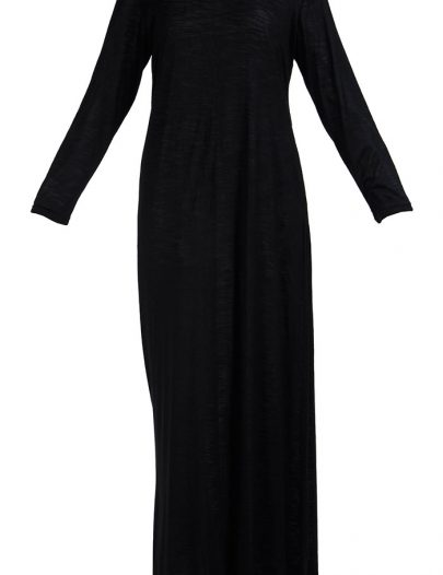 Full Length Viscose Knit Black Under Dress Slip Black
