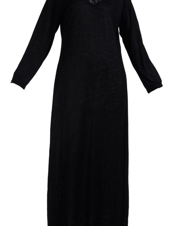 Full Length Lace Viscose Knit Black Under Dress Slip Black