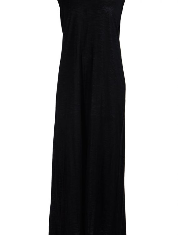 Sleeveless Lace Full Length Viscose Knit Black Under Dress Slip Black