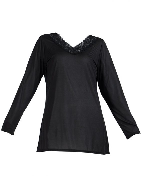Long Sleeve Lace Polyester Under Dress Slip Top Regular Length Black